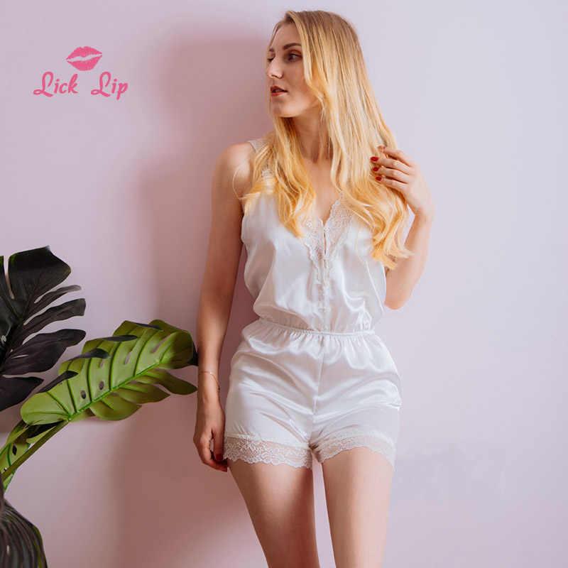 Lecken Lip Sexy Spitze Onesies Für Erwachsene Shorts Nachtwäsche Overall Pyjamas Strampler Satin Frauen Weiß Pyjama Nacht Anzüge SWC3364-47