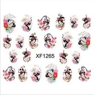 Best Selling!!Fashion Nail Water Transfer Nail Art Sticker Geisha Girls Decal 10 pcs/lot+Free Shipping