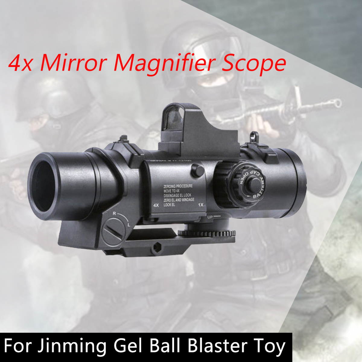 4X Mirror Magnifier Scope With Red Dot Sights For Jinming Gel Ball Water Toy 4X Sight For Gel Ball Toy