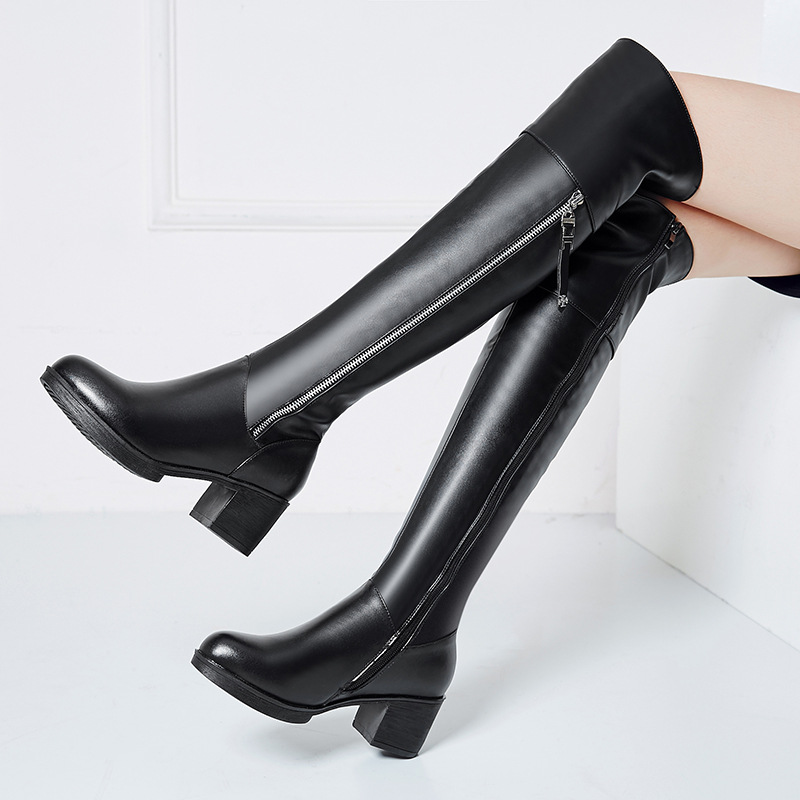 DAOKFPO 2018 Women Motorcycle Boots Genuine Leather Over The Knee Sexy Ladies Party High Heels Shoes Woman Black Plus Size 43 2017 women boots stretch pu leather over the knee high sexy ladies party high heels platform shoes woman black plus size 43