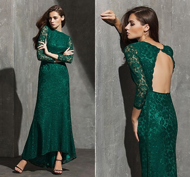 b9a550b047eea0 Long Evening Dress 2016 New Arrival Dark Green Plus Sizes Bateau  Asymmetrical Lace Prom Military Ball Dress