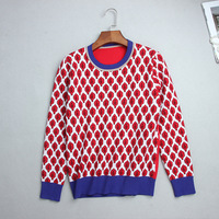 Qooth New Arrivals Women Vintage Red Leaf Warm Sweaters Long Sleeve O Neck Lurex Pullovers Autumn Knitted Tops Female QH1902