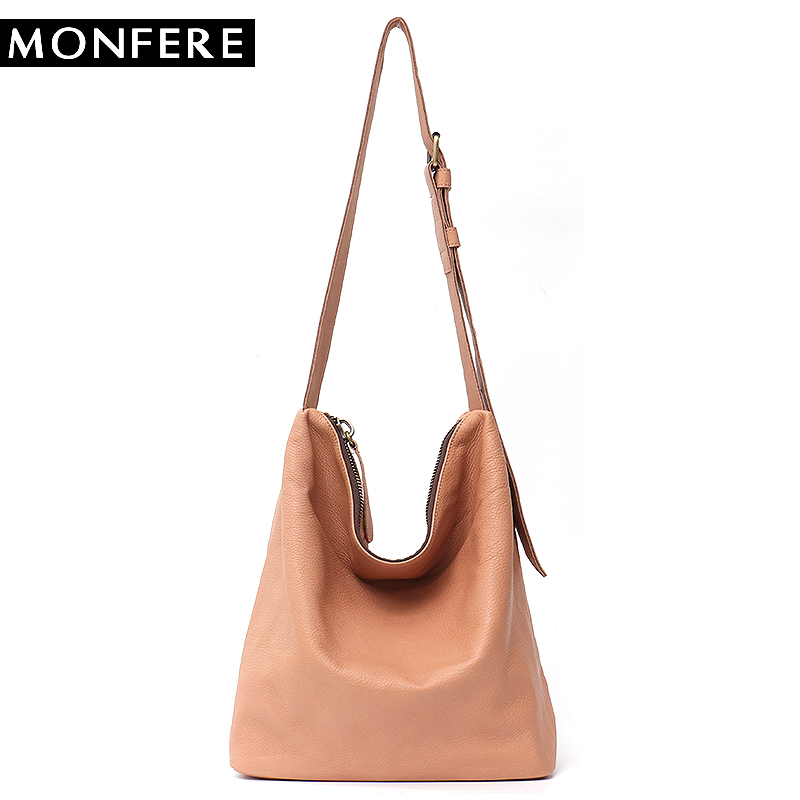 MONFERE Women Leather Handbags Vintage Luxury Genuine Leather Bag Large Hobo Solid Long Strap Big Cross Body Women Shoulder Bag monfere luxury handbags women shoulder bag large tote bags big hobo soft leather ladies cross body messenger bag for women 2018