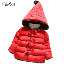 High Quality 2018 New Winter Infant Clothes Kids Outerwear Baby Girls Parkas Fashion Snow Wear Newborn Girl Hooded Warm Clothing(China)