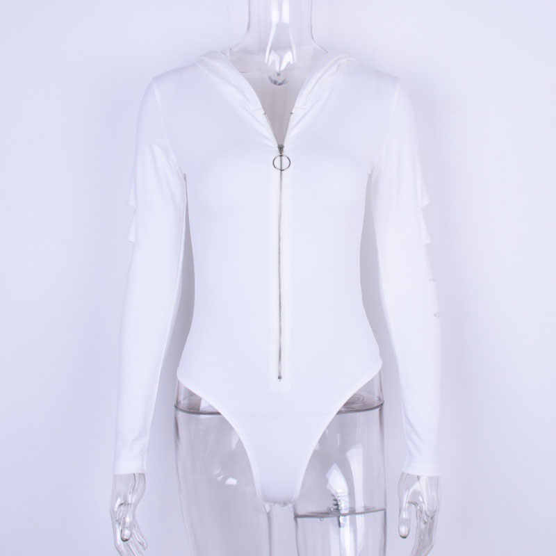 Naiveroo agujero lateral con capucha Bodysuit manga larga sólido Zip Up Slim Hoodies Romper Casual Sexy moda mujer básica Bodysuits