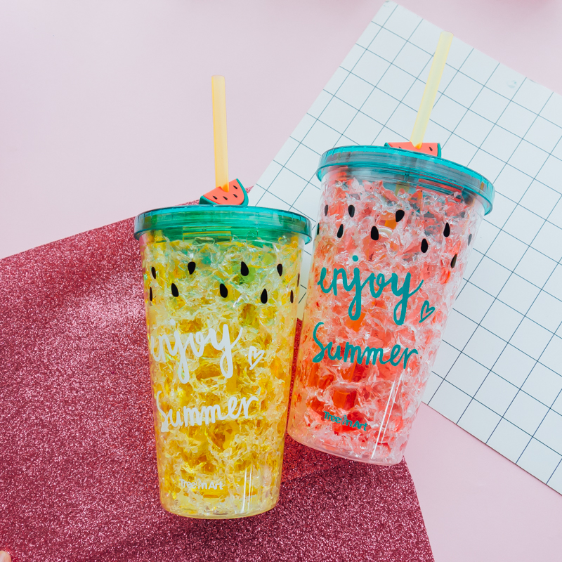 INS Style Watermelon Ice Cup Summer Broken Ice Cup Creative Double-layered Refrigerated Plastic Cup With Straw Cup Adult N299
