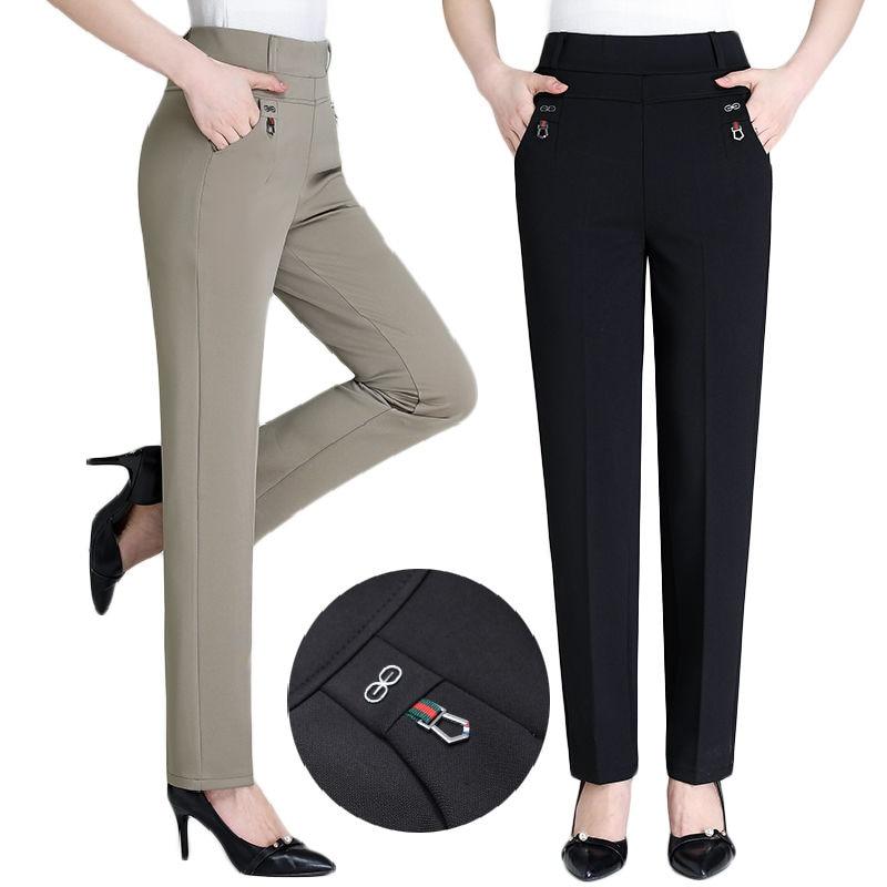 Casual Pants Women 2019 New Summer Autumn High Waist Elasticity Straight Pants Slim Trousers Female Khaki Black Plus Size XL-5XL