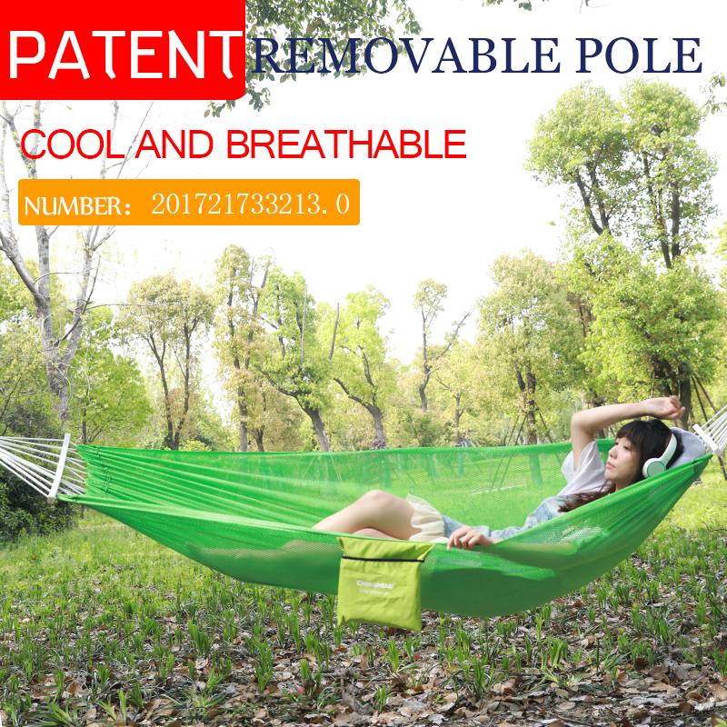NEWSummer COOL  Hammock with stick Double/Single Garden swing Sleeping bed Portable Outdoor Camping Garden hanging chair