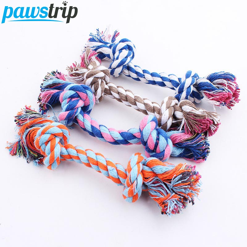 1pc Pet Dog Toy Double Knot Cotton Rope Braided Bone Shape Puppy Chew Toy Cleaning Tooth 16cm