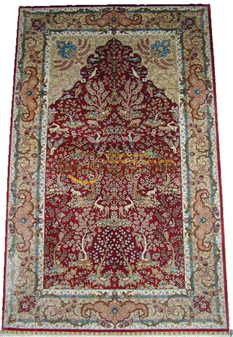 Tapis persan en soie tapis orientaux tapis tissés à la main pour salon Patterngc117psilkyg28 - 2