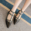 Women Casual Shoes Comfortable Ladies Rivets Flat Shoes Fashion Designer Style Pointed Toe T-Strap Flat Shoes Women Shoes Flats