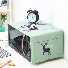 Nordic Deer Thick Cotton And Linen Microwave Cover Oven Cloth Kitchen Household Dust