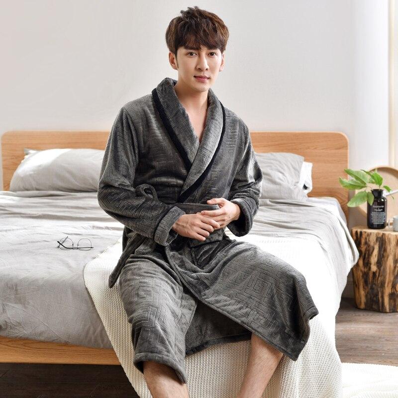 Men Sleepwear Robe Winter Flannel Thicken Terry Robe Male Long Sleeve Kimono Warm Bathrobe Home Wear Peignoir Men Robe