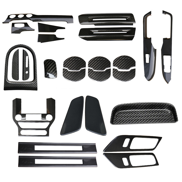 QHCP Car-Styling 13 Pieces Carbon Fiber Interior Decoration Car Accessories For Ford Mustang 2015+