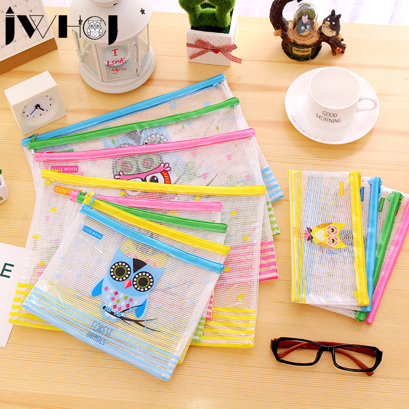 1 Pcs Cute Owl Multifunction PVC Waterproof Zipper Bag Document Envelope Data Bag  School Supplies Kawaii Stationery
