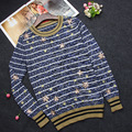 Free Shipping 2016 Autumn Gray Striped Gold Sequins Autumn Wome's Pullovers Brand Same Style Women's Sweaters  91605