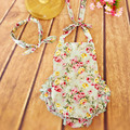 2016 baby girls rompers baby romper Cotton baby costume rattan flower pattern with bow headband