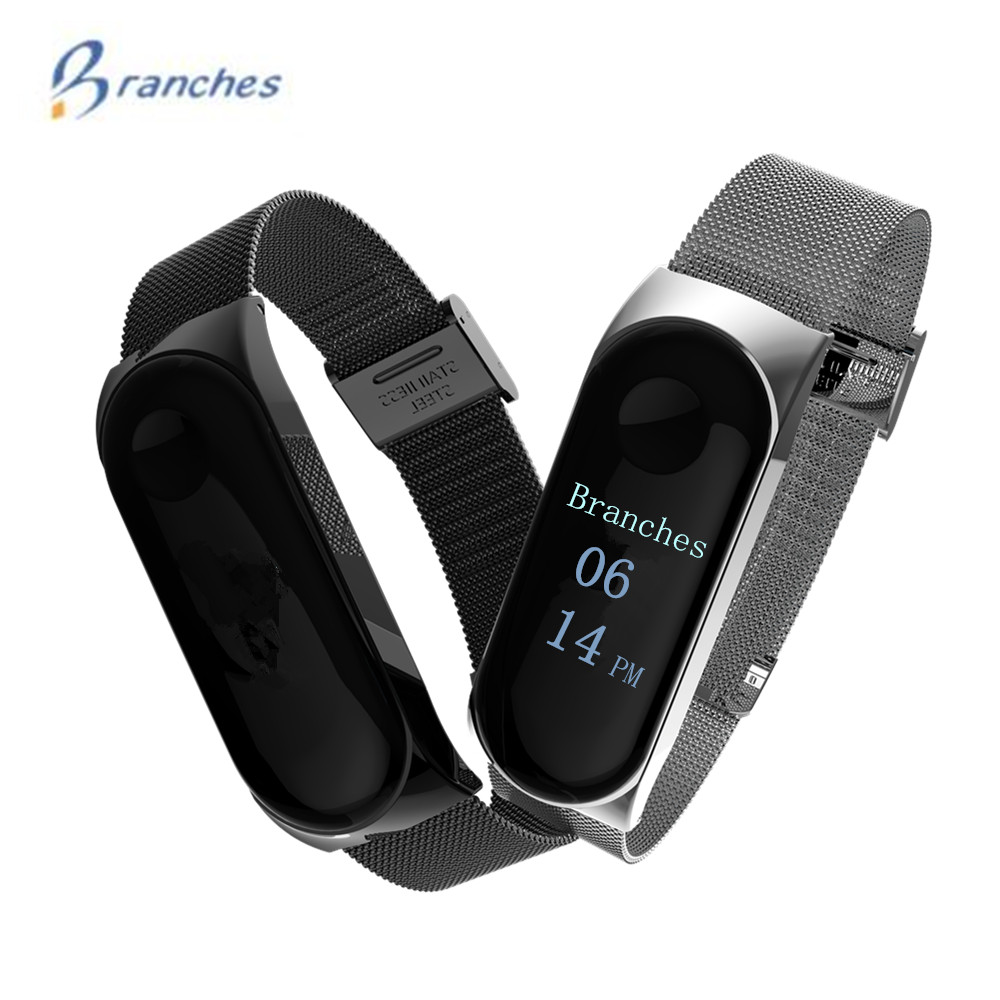 Branches Mi band 3 strap replacement Magnetism bracelet miband 3 bracelets bangles Wristband black Magnet Metal for xiaomi band3