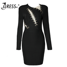 INDRESSME Sexy Hollow Out Lace Up Women Bandage Dress Fashion Bodycon V Neck Full Sleeve Women Party Dress Vestidos 2018