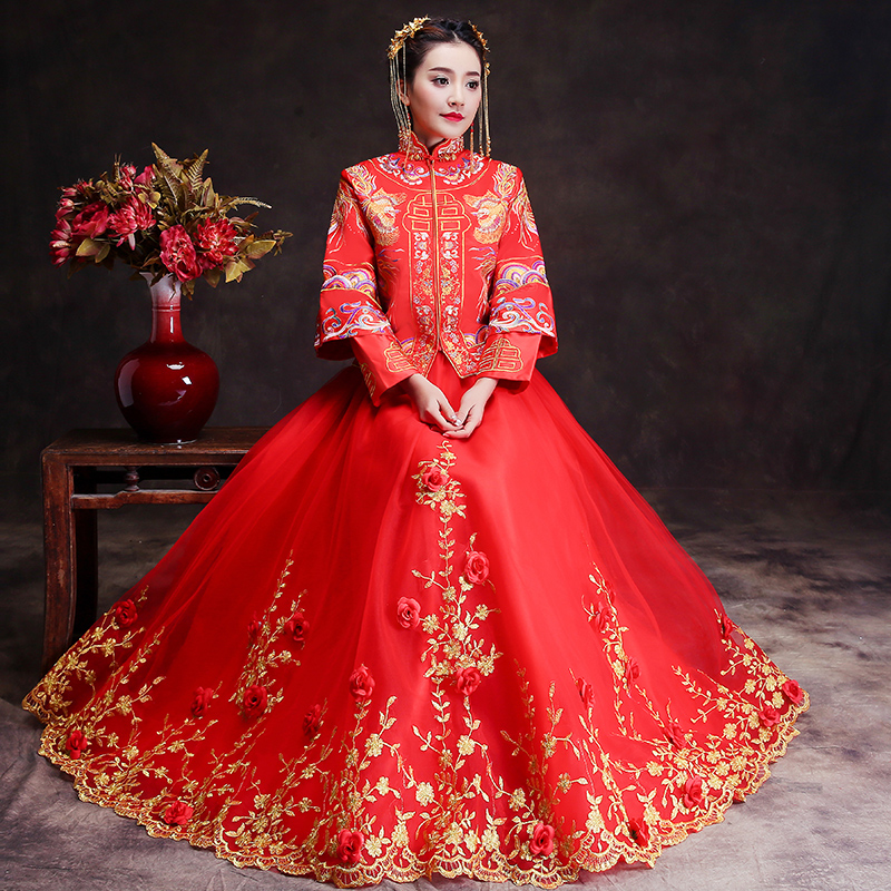 Buy spring traditional show bride dress for Chinese style wedding dress