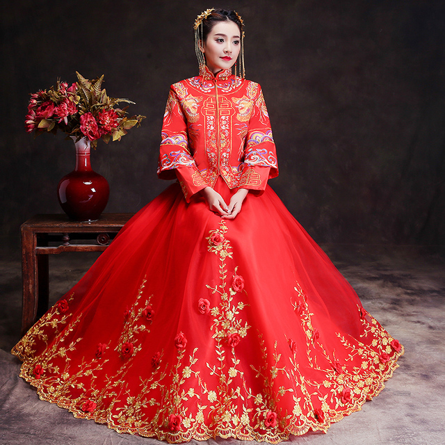 eb167a476dd8 Spring Traditional Show bride dress clothes long-sleeve chinese style Wedding  cheongsam evening dress red