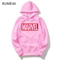RUMEIAI Marvel Printed Men Hoodie Sweatshirt Tracksuit Harajuku Adventure Time Black Sweatwear Men EXO Kpop BTS