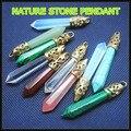 1 PC Nature gem stone pendants opal glass malachite crystal blue turquoise carnelian agate aventurine stone size 10x60mm