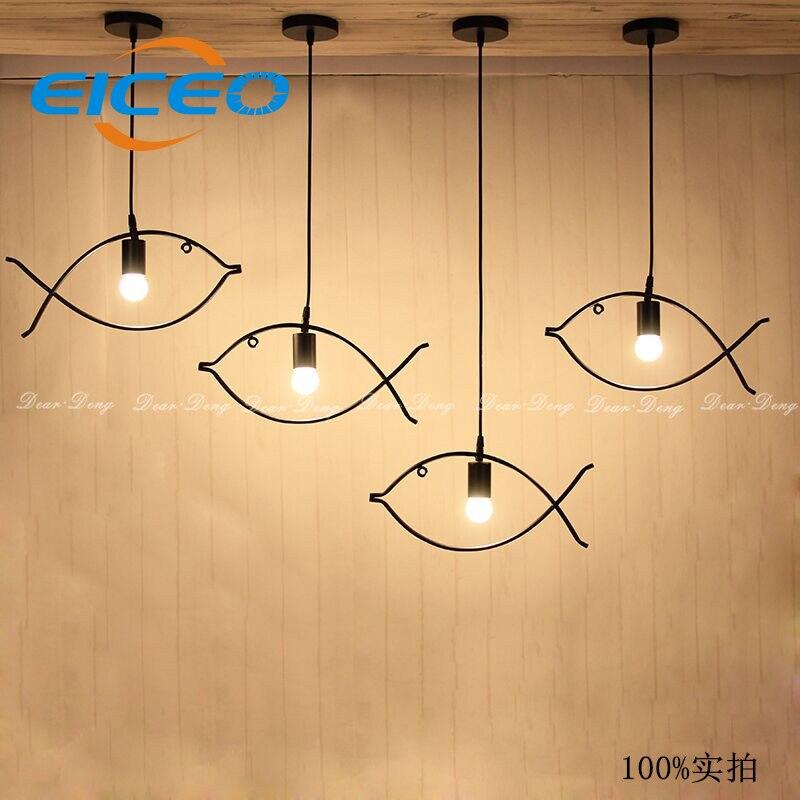 ФОТО (EICEO) Creative Personality LED Pendant Lights Fish Bar Minimalist Dining Room Nordic Hanging Lamp  Droplight Style