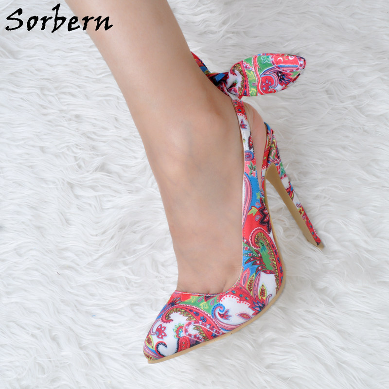 Sorbern 2018 Women Pumps Bow Show Slip On High Heels Shoes Pointed Toe Womens High Heel Shoes Party Shoes Luxury sequined high heel stilettos wedding bridal pumps shoes womens pointed toe 12cm high heel slip on sequins wedding shoes pumps