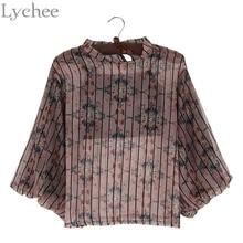 Lychee Spring Autumn Women Blouse Floral Print Stripe Lantern Sleeve Chiffon Shirt Camis 2 Pieces Set