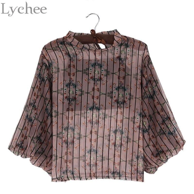 Lychee Spring Autumn font b Women b font Blouse Floral Print Stripe Lantern Sleeve Chiffon Shirt