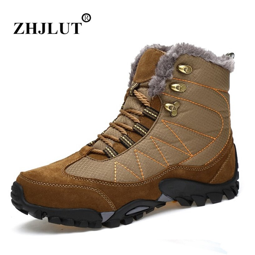 Men Winter Boots Plush Warm Hiking Boots Outdoor Tactical Trekking Shoes Men Genuine Leather Waterproof Ankle Boots Men Sneakers big size 46 men s winter sneakers plush ankle boots outdoor high top cotton boots hiking shoes men non slip work mountain shoes