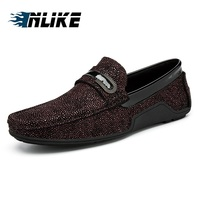 INLIKE Genuine Leather Men's Shoes Slipper Sheepskin Foot Round Head Casual Shoes