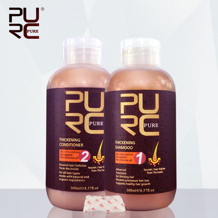 PUR Épaississement cheveux shampooing et revitalisant pour les cheveux perte empêche la perte prématurée des cheveux et l'amincissement des cheveux pour hommes et femmes