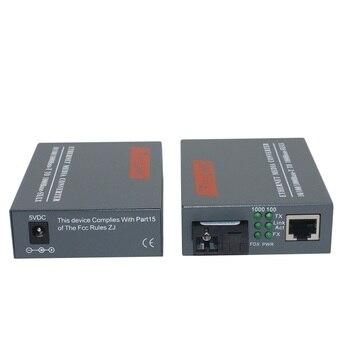 1 زوج HTB-GS-03 A / B جيجابت الألياف وسائل الإعلام البصرية محول 1000Mbps وضع واحد واحد SC ميناء الألياف 20KM 1