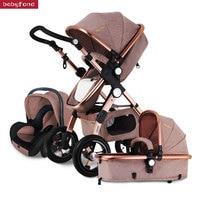 RU Free ship ! 3 in 1 baby stroller aluminium alloy frame folding strollers europe baby pram light umbrella baby car 3 in 1