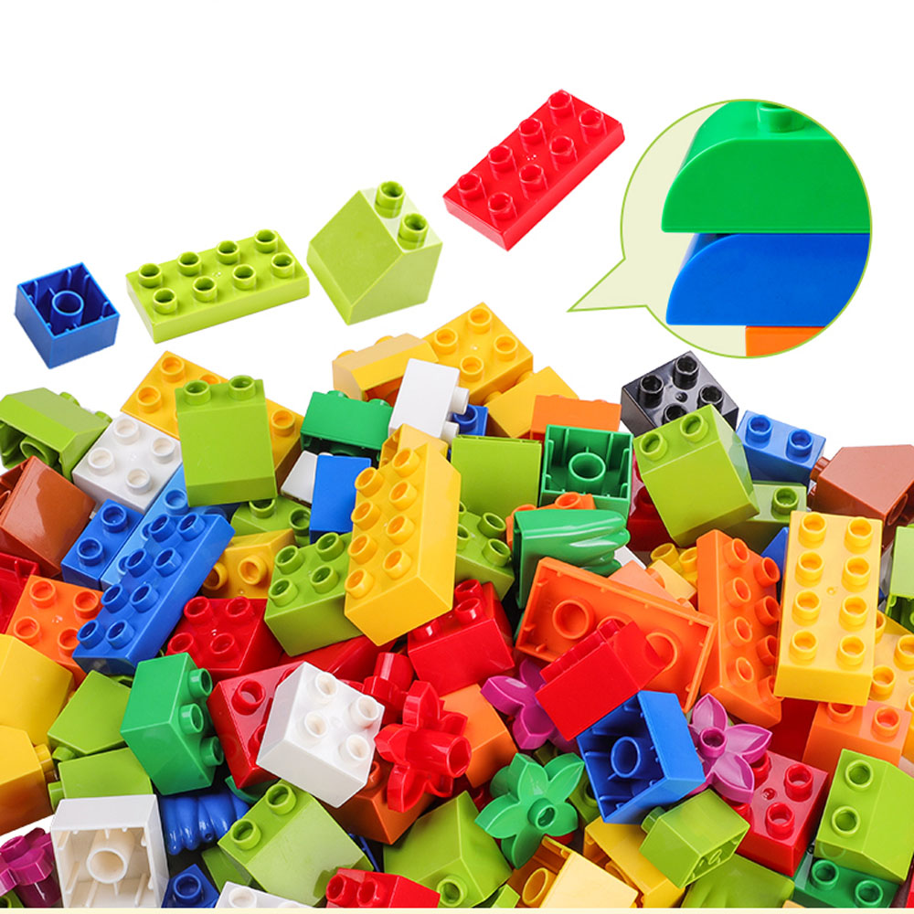 Building Blocks For Children Above 3 Years Old Big Bricks With Instruction Sticker Figure Pipe Building Blocks Compatible Duploe big bricks building blocks base plate 51 25 5cm 32 16 dots baseplate diy bricks toy compatible with major brand blocks