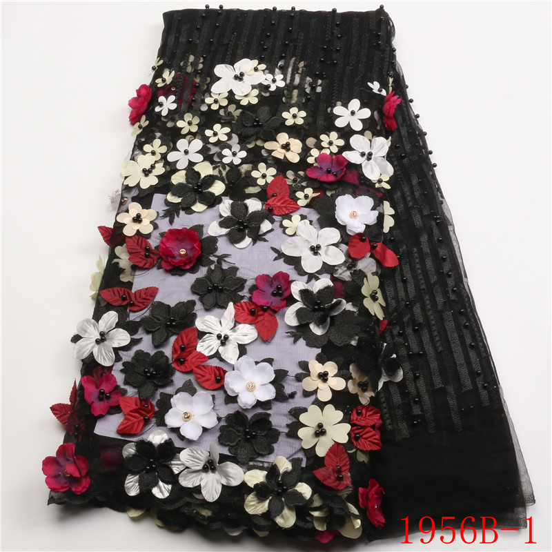 Newest Style 3D Flowers Tulle Lace Fabric nigerian Wedding Lace Popular Beaded French Tulle Lace Fabric