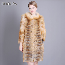 DUOUPA casual winter jacket womens 2019 fashion long-sleeved coat warm loose thickening long real fur