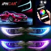 RGB DRL day runing for Toyota Reiz Headlights New Mark X LED Headlight Bi Xenon Head Lamp LED DRL bluetooth app car styling