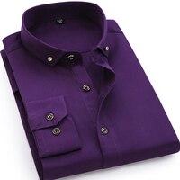 גברים באיכות גבוהה רך נוח עיצוב כפתור תרגיל צווארון קטן חולצה שמלה מזדמן 100% כותנה גבריות עסקי שרוול ארוך