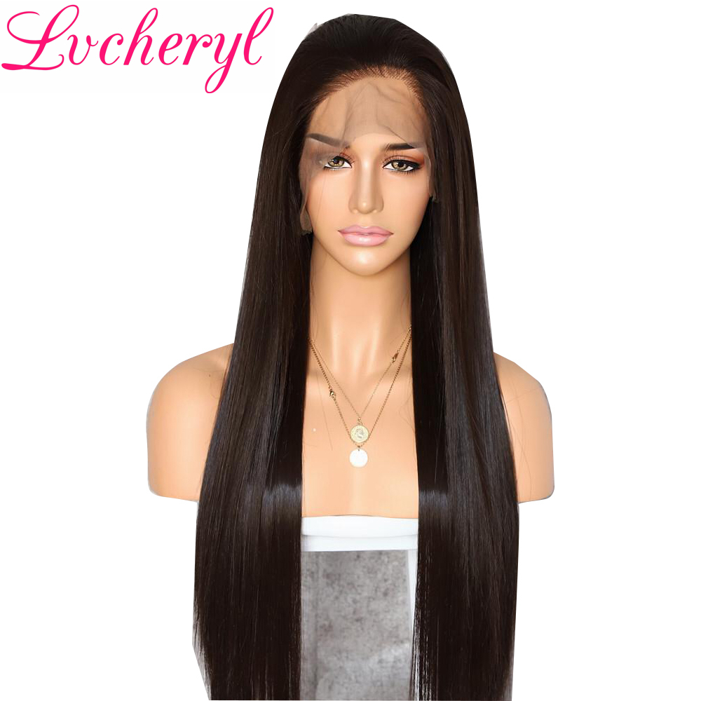 Lvcheryl 13x6 Dark Brown Futura Fiber Hair Heat Resistant Hair Long Natural Straight Synthetic Lace Front