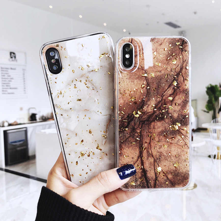 Luxe Gouden Folie Telefoon Case Voor iPhone X XS Max XR Marmer Soft TPU Cover Cases Voor iPhone 7 8 6 6 s Plus Glitter Case Marmer Leuke