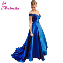Royal Blue Prom Dresses Long 2019 Boat-Neck Satin Appliques Formal_Dresses Vestidos De Gala