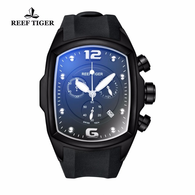 Reef Tiger/RT Mens Sport Watches Luminous Watches Big Dial with Date Design Watch Rubber Strap RGA3068