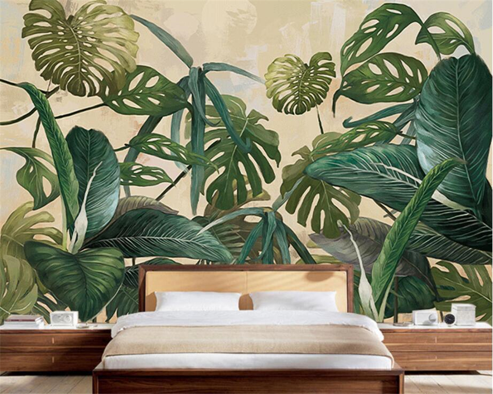 Beibehang Custom Wallpaper Tropical Rainforest Palm Basha Leaf Living Room TV Background Wall House Decorative Mural Wallpaper