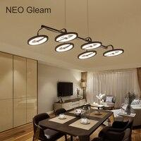 Neo gleam lampadario moderno l870xw450mm 현대 led 펜 던 트 조명 다이닝 주방 룸 블랙 컬러 85-265 v 교수형 램프