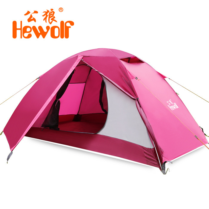 Hewolf 1-2 person waterproof camping tent 4 seasons Hiking Beach tent Double layer Aluminum pole Tents for outdoor стоимость