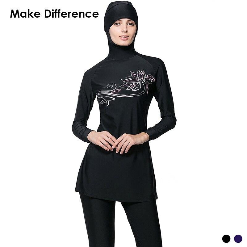Make Difference Flower Print Muslim Swimsuit Arab Islamic Wear 2 Pieces Connected Hijab Muslim Swimwear Burkinis for Women Girls swimsuit muslim swimwear for women 2017 new swimsuit swimwear islamic arab muslim woman beach swimsuit size l 5xl