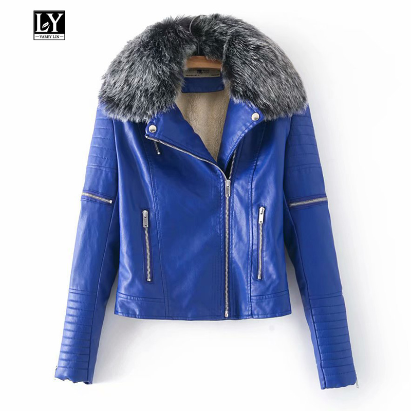Ly Varey Lin Women Winter Warm Faux   Leather   Fur Collar Jackets Lady Black Red Blue PU Motorcycle & Biker Outerwear Coats